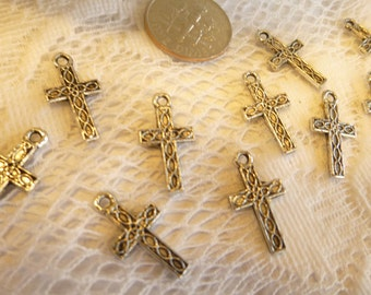 10-Antique Silver Patterned Cross Charms Small Silver Cross Charms Stamped Cross Charms Pendants 10mm X 18mm Tibetan Silver/ Quantity 10