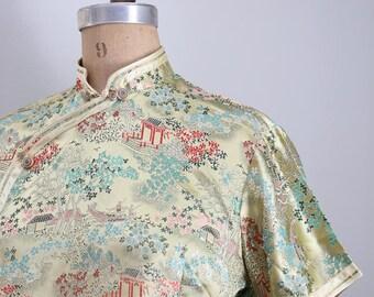 vintage satin brocade cheongsam top - Chinese brocade blouse / pale gold satin top - ladies Chinese blouse / 60s satin brocade top