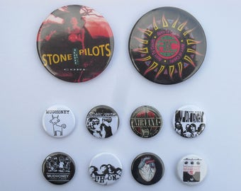YOU CHOOSE 90's Seattle Grunge Bands Alternative Rock Music Pinback Buttons Nirvana Alice in Chains Mudhoney Stone Temple Pilots Sonic Youth