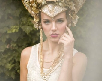 Gold Glitter 'Sunburst' Couture Floral Crystal Headdress