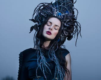 Dark Blue and Grey 'Celinette' Beaded Glitter Bespoke Statement Couture Headdress