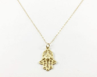 Gold Hamsa Necklace, Gold Hand Necklace, Hamsa Charm Necklace, Hamsa Pendant Necklace, Hamsa Necklace by Indira Boheme