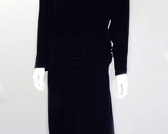Original 1970s Designer Vintage Dior Black Velvet Dress UK Size 10