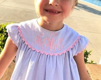 Baby Girl's Blue Seersucker Angel Sleeve Dress, Monogram Included