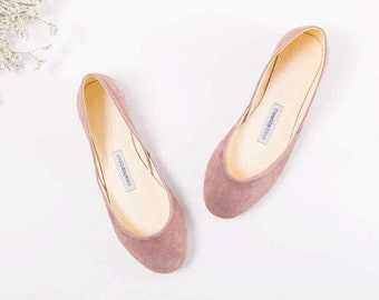 The Suede Ballet Flats in Mauve | Pointe Style Shoes | Minimal Slip on Shoes | Made to Order