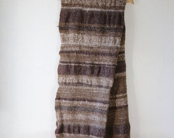 Pure Wool Throw Blanket, Brown Stripe