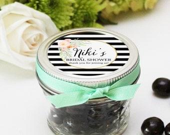 Bridal Shower Mason Jar Favors - Niki Label Design | Bridal Shower Favor | Baby Shower Favor | Floral Bridal Shower -Set of 12