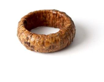 vintage snakeskin bangle, chunky stacking bracelet