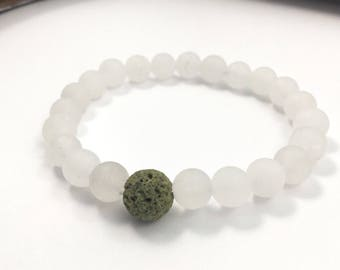 White frosted jade essential oil bracelet
