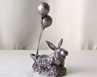 Vintage Pewter Bunny Max Signed Numbered M A Ricker 1982 Miniature Pewter Sculpture With Certificate of Casting