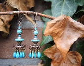 earrings ' winterfun '  - blue drop beads and a lot of copper