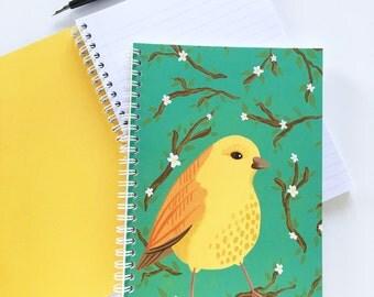 A5 Notebook Floral Bird Illustration Pattern Spiral Bound Journal