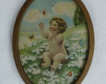 Bessie Pease Gutmman Framed Print. Butterflies and Daisies. Vintage Antique 1900s 1906. Baby in Garden. Small Metal Oval Picture Frame.