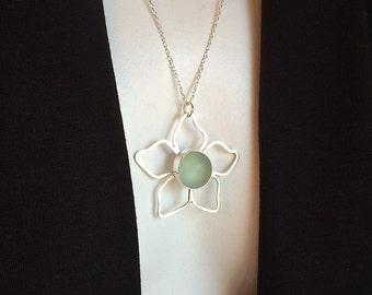 Genuine Beach Marble Flower Necklace Fine Silver Argentium Sterling Silver Jewelry by Ocean Edge Designs