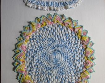 Two Vintage Crochet Doilies Colorful