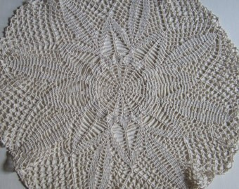Vintage Large Round Off White Cotton Crochet Doily Lace