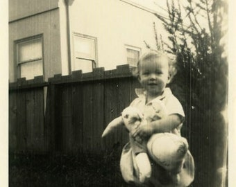 "Vintage Photo ""Backyard Fun with Mr. Bunny"" Snapshot Antique Photo Old Black & White Photograph Found Paper Ephemera Vernacular - 78"