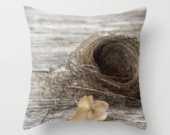 Bird Nest Pillow Cover, Farm House Decor, Rustic, Vintage Style, Photo Pillow Cover, Nature decor