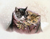 Cats Christmas Card - Kittens with Mistletoe - Repro Helena Maguire - Vintage Style