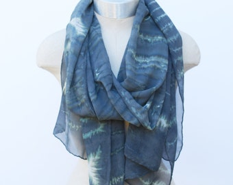 grey stripe ink blot scarf, silk chiffon oversized scarves