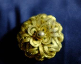 Antique Filigree Goldtone Round Flower Brooch