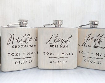 White Wood Flask, Custom Wooden Flask, Groomsmen Personalized Bridesmaids Flask, Stainless Steel 6oz Hip Flask
