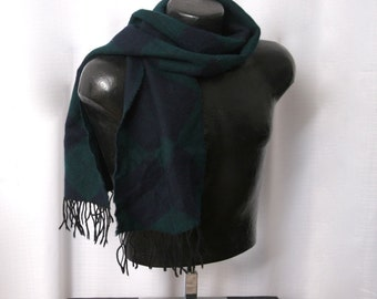 Argyle Wool Scarf, Johnstons of Elgin Gentlemen's Navy Blue and Hunter Green Argyle Fringed Scarf