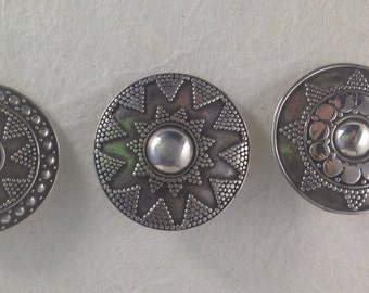Sterling Silver from Bali Set of 3 buttons 7/8""