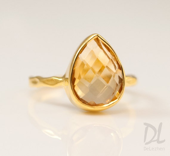 Gold Citrine Ring Gold - November Birthstone Ring - Solitaire Ring - Stacking Ring - Gold Ring - Tear Drop Ring
