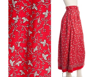 70s red maxi skirt -- vintage leaf print skirt -- red and white maxi -- size small / medium