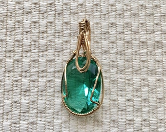 Erinite Crystal Wire Wrapped In 14K