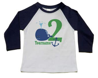 Whale Birthday Shirt, 2nd, 1st, 3rd, 4th, 5th Birthday Tee. Nautical Whale Party, Personalized Shirts, Under the Sea Party Shirt, Anchor Tee
