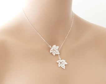 Maple Leaf Necklace, Lariat Necklace, Maple Leaf Jewelry, Wedding Jewelry, Lariat Jewelry, Silver Maple Leaf, Gift For Her, Canadian Jewelry