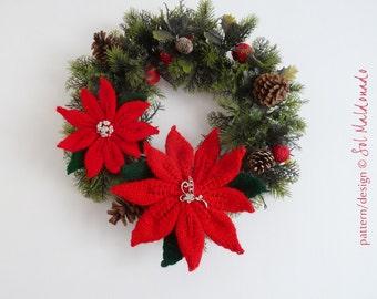 Flower Knit Pattern Christmas PDF - Poinsettia Flower brooch, Christmas wreath, tree ornament - INSTANT download