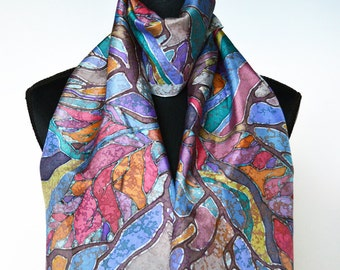 Abstract Hand Painted Silk Scarf. Colorful Scarf. Fall Tree Scarf. One of a Kind Artwork on Habotai silk 30 x 150 cm. Ready to Ship.