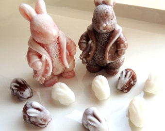 BUNNY SOAPS, Mama & Papa with Baby Bunnies Soap Set, Rabbit Soap, Animal Soap, Custom Colored, Custom Scented, Vegetable Based
