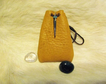 ElkSkin Leather Bag , Small Medicine Bag , Leather Bag Pouch , Carved Shell Bead , Turquoise Chip Bead , Hand Cut Hand Sewn , Healing Tool