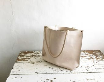 Leather Tote in Natural Creamy Off White - Rope Straps - Made to Order