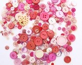 300+  Pink Buttons - SHIPS for 1.00 ! Medley collection of vintage + New buttons in various sizes. Perfect for sewing + paper crafting.