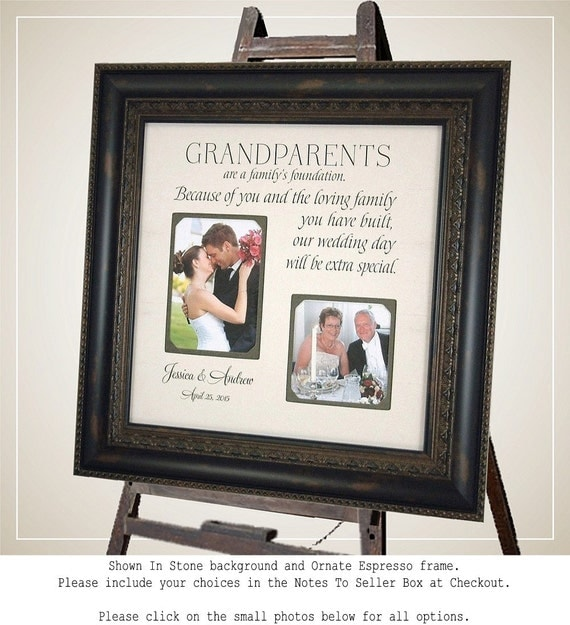 Grandparents Thank You, Wedding Thank You Gift for Grandparents, Personalized Wedding Frame, 16 X 16
