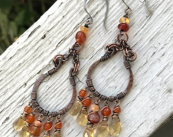 Chunky copper chandeliers with fire opal, carnelian, and citrine