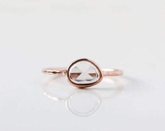 Rose cut pastel sapphire & 14k gold ring, alternative engagement ring, blue purple pink sapphire ring, sapphire engagement, asymmetrical