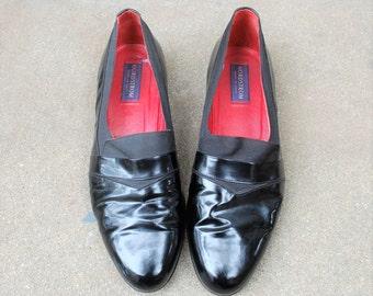 Vintage Shoes Mens 11.5 Nordstrom Italian Slip On Loafers Oxfords Patent Genuine Leather Black Classic Wedding Suit Dress Shoes Designer Mod