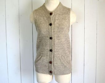 Wool Sweater Vest - Beige Tan - 1970s Womens Button Up Pocket Vest - Vintage Eddie Bauer Waistcoat - Preppy Professor - Medium M
