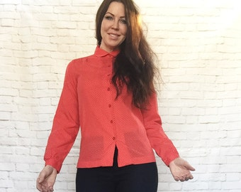 Vintage 70s Does 40s Red Swiss White Micro Polka Dot Blouse Long Sleeve Top XS S