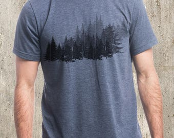 Forest Illustration - Men's Tri-Blend T-Shirt - Men's Small Through 2XL Available