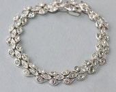 SOLD EXqUISITE Bridal Rhinestone Bracelet,Clear Paste Rhinestone STERLING Silver Paved Link Bracelet,Authentic Vintage,Gatsby,Flapper,OOAK