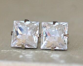 NEW Classic Square Crystal Diamond Stud,Swarovski Post Earring,Square Post,Crystal Clear,Geometric,Modern,Elegant,Bridal,Weddings,Everyday