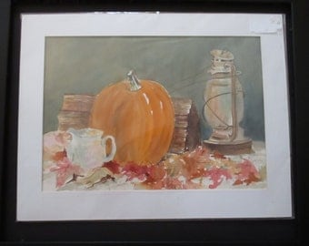 Original Watercolor Painting Signed Art Painting Framed Still Life Pumpkins Lanterns Autumn Leaves Pitcher Fall Decor Nature Themed Art