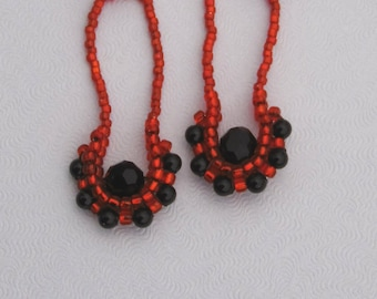 Red & Black Earrings - Beaded Crystal - Drop Style - Seed Bead - 2 Inch Bead Earring - Lightweight Feminine - For Her - Ready to Ship